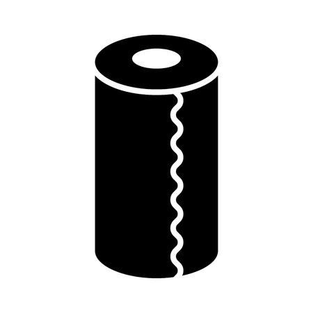 Roll of vertical disposable paper towels flat vector icon for apps and websites