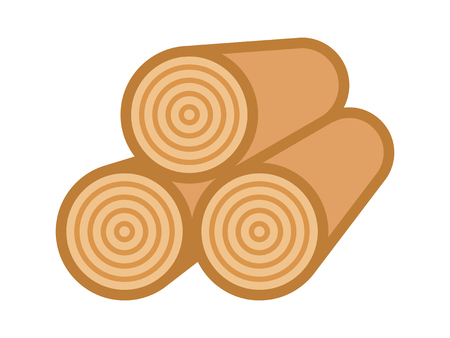 Stack of umber wood logs flat vector color icon for apps and websites