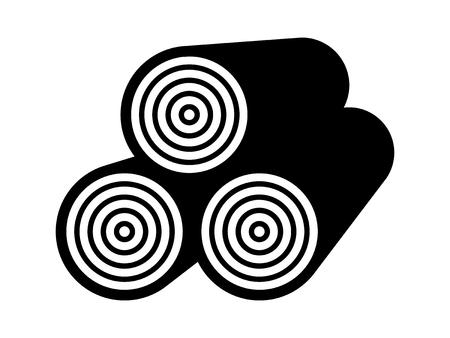 木材のスタック木材のアプリとウェブサイトの原木フラット ベクトル アイコン  イラスト・ベクター素材