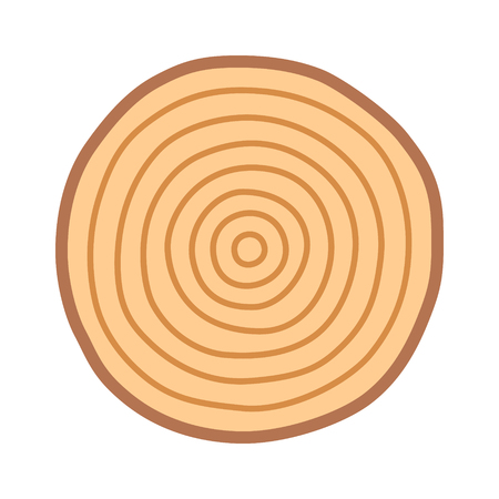 Tree growth rings / dating or dendrochronology flat color vector icon for nature apps and websites 矢量图像