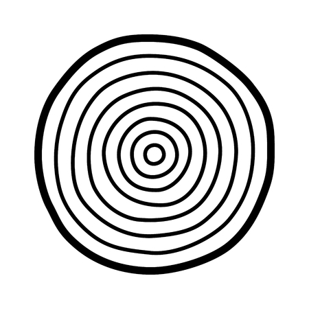 Tree growth rings  dating or dendrochronology line art vector icon for nature apps and websites