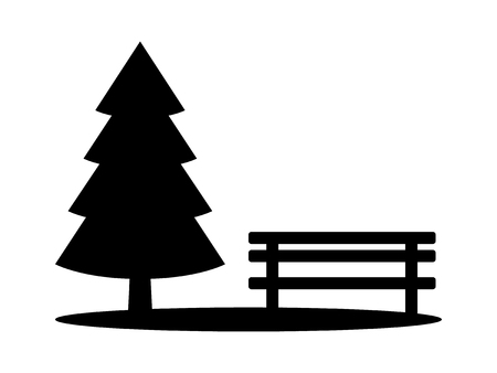 Park with evergreen pine tree and bench flat vector icon for apps and websites