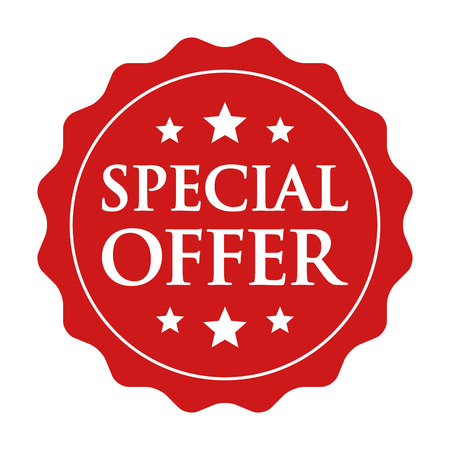 affordable: Red special offer label, badge, seal or burst flat vector icon for apps and websites