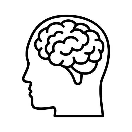 Brain or mind side view inside head line art vector icon for medical apps and websites