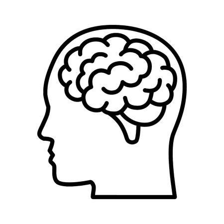 Vista lateral del cerebro o la mente dentro del icono de vector de arte de línea de cabeza para aplicaciones médicas y sitios web