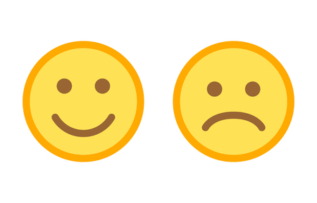 행복하고 슬픈 이모티콘 웃는 얼굴이 앱 및 웹 사이트의 평면 벡터 색상 아이콘에 직면합니다.