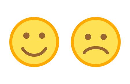 Gelukkige en droevige emoticonsmiley ziet vlak vectorkleurenpictogram voor apps en websites onder ogen