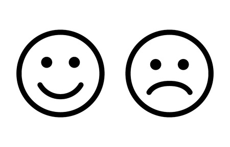 Happy and sad emoji smiley faces line art vector icon for apps and websites Vectores