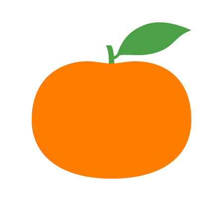 Tangerine or mandarin orange citrus fruit with leaf flat vector color icon for apps and websites Illustration