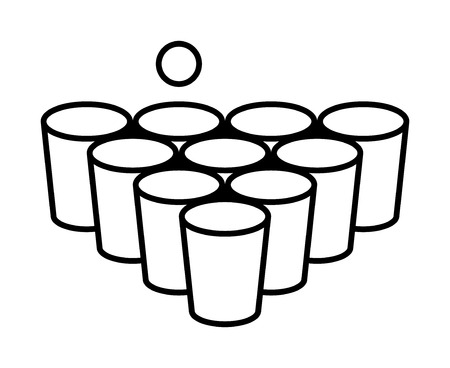 Beer pong or beirut drinking game with cups with ball line art vector icon for apps and websites.