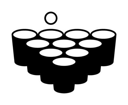 Beer pong or beirut drinking game with cups with ball flat vector icon for apps and websites