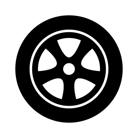 Car, vehicle or automobile tire alloy wheel with rim flat vector icon for apps and websites