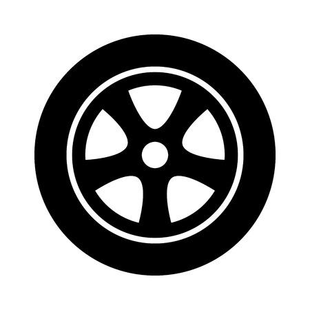 Roue en alliage de pneu automobile, véhicule ou automobile avec icône vectorielle à jante pour applications et sites web Vecteurs