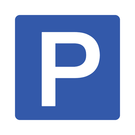 Parking or park sign for cars / vehicles with capital P flat vector icon for apps and websites Vectores