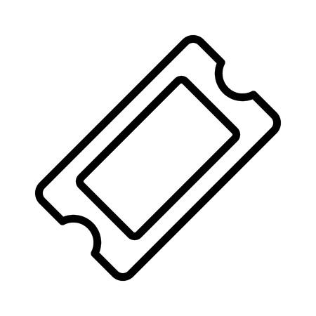 Film Ticket Eintritt Stub oder Gewinnspiel Token Linie Kunst Vektor Icon für apps und Website.