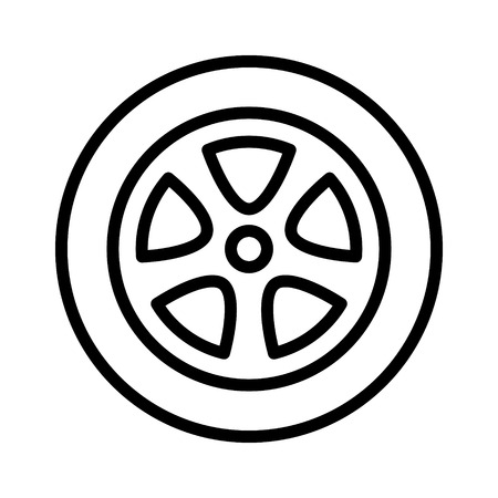 Car, vehicle or automobile tire alloy wheel with rim line art vector icon for apps and websites.