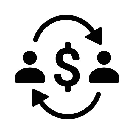 Money transfer between two people with dollar sign flat vector icon for apps and websites