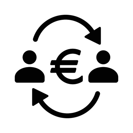 Money transfer between two people with euro sign flat vector icon for apps and websites