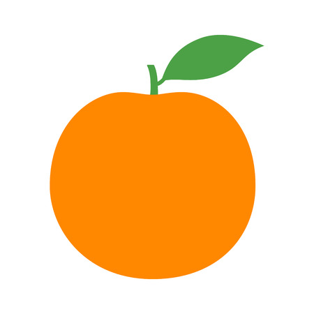 Orange citrus fruit or grapefruit with leaf flat vector color icon for food apps and websites