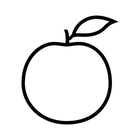 Orange citrus fruit or grapefruit with leaf line art vector icon for food apps and websites