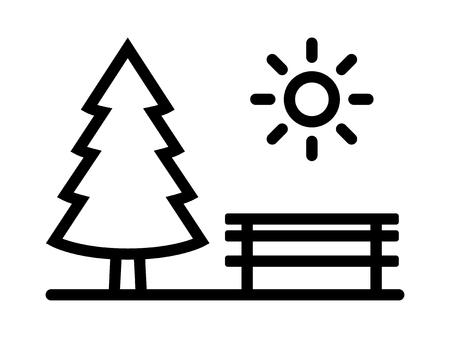 Park met groenblijvende pijnboom, bank en zon lijn vector pictogram voor apps en websites