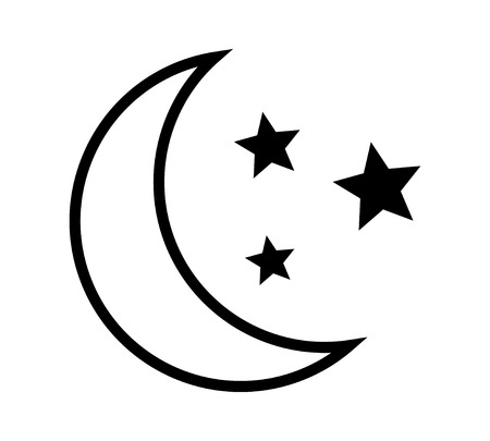 Crescent moon with stars at night, evening or nighttime line art vector icon for apps and websites