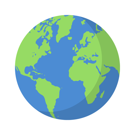 Planet earth or world globe with oceans and water flat vector color icon for apps and websites Çizim