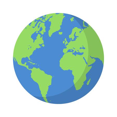 Planeta tierra o globo del mundo con océanos y agua icono de color vectorial plana para aplicaciones y sitios web Ilustración de vector