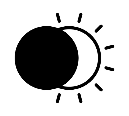 Solar eclipse with the moon blocking the sun flat vector icon for apps and websites Illustration
