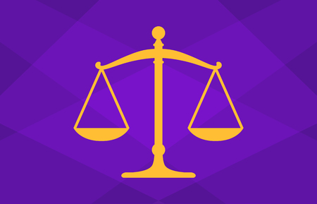Scales of justice or lawsuit legal case in a court of law flat vector illustration