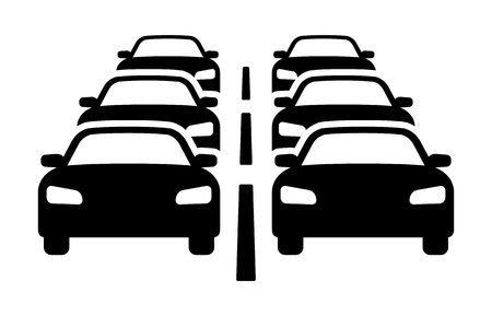 Two lanes of heavy car traffic jam flat icon for automobile apps and websites.