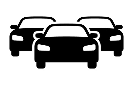 Car inventory or heavy traffic jam flat vector icon for automobile apps and websites