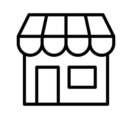 Online store marketplace or ecommerce shop line art vector icon for apps and websites