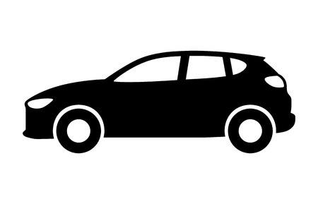 Compact crossover hatchback vehicle or suv side view flat vector icon for transportation apps and websites Illustration