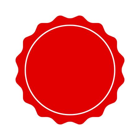Ein roter glatter Rand, Abzeichen, Siegel oder Etikett mit flachem Liniensymbol für Apps und Verpackungen.