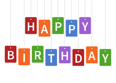 Happy birthday celebration with colorful tags greeting card design for apps and print