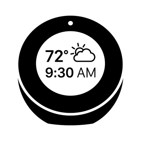 Smart alarm clock with time and weather flat vector icon for apps and websites