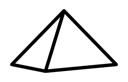 Three dimensional or 3D pyramid line art icon for apps and websites