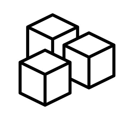 sugar cube: Sugar cubes or sugar substitute sweetener line art vector icon for food apps and websites Illustration