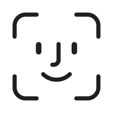 Square facial recognition identification scan line art vector icon for apps and websites