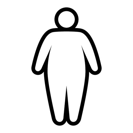 Fat  obese person facing obesity epidemic line art vector icon for apps and websites