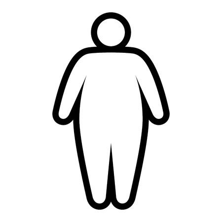 Vet  zwaarlijvig persoon geconfronteerd met obesitas epidemie lijn kunst vector pictogram voor apps en websites