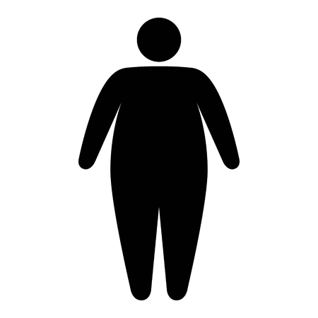 Fat  obese person facing obesity epidemic flat vector icon for apps and websites Çizim