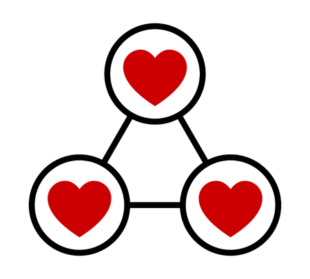 Love triangle or polygamy / polygamous relationship flat vector icon for apps and websites