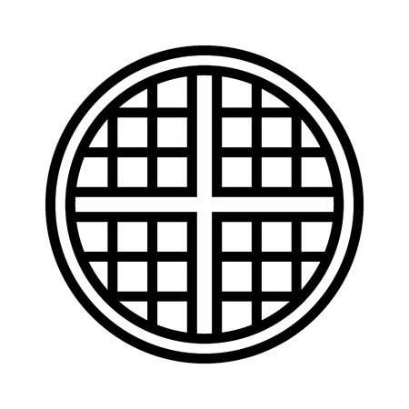 Round waffle breakfast vector line art icon for food apps and websites