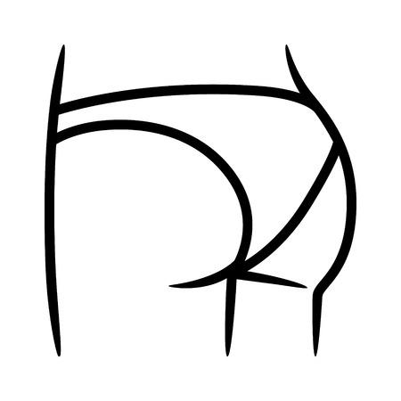 ビキニのボトムまたはパンツショーツ下着ライン アート ベクトルのファッション アプリと web サイトのアイコン