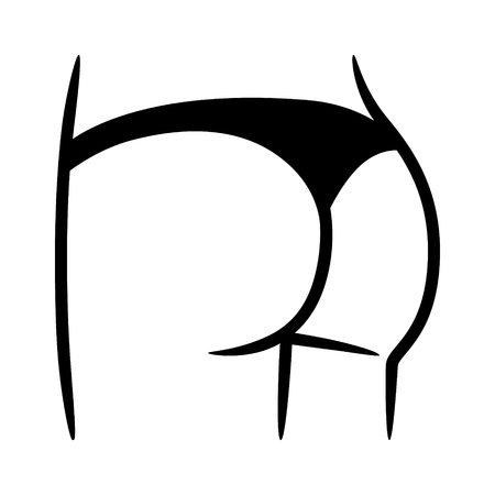Bikini bottom or thong underwear flat icon for fashion apps and websites