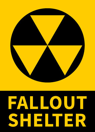 Nuclear fallout shelter flat yellow vector sign with text for print Ilustrace