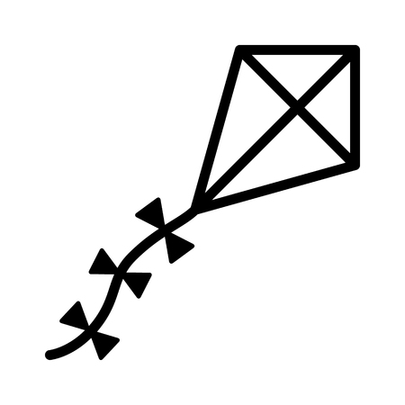 A diamond flying kite with a decorative tail line art vector icon for apps and websites