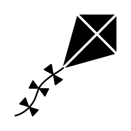 A diamond flying kite with a decorative tail flat vector icon for apps and websites